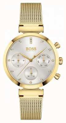 BOSS Impecável das mulheres | pulseira em malha folheada a ouro | mostrador prateado 1502552