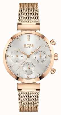 BOSS Impecável das mulheres | pulseira em malha de ouro rosa | mostrador prateado 1502553