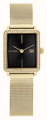 Tommy Hilfiger Chá feminino | pulseira em malha folheada a ouro | mostrador quadrado preto 1782295