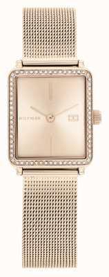 Tommy Hilfiger | mulheres | chá | pulseira de malha de ouro rosa | rosa dial quadrado | 1782293