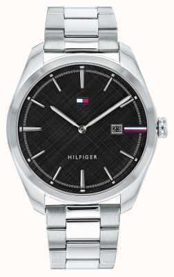 Tommy Hilfiger Theo dos homens | pulseira de prata em aço inoxidável | mostrador preto 1710440