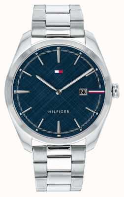 Tommy Hilfiger Theo dos homens | pulseira de prata de aço inoxidável | mostrador azul 1710426