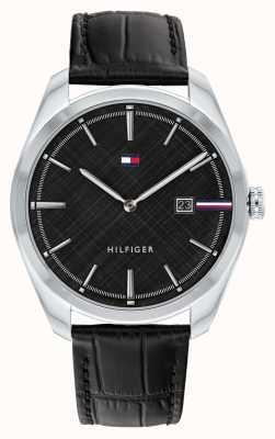 Tommy Hilfiger Theo dos homens | pulseira de couro preta | mostrador preto 1710439