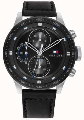 Tommy Hilfiger Trent masculino | pulseira de couro preta | mostrador preto 1791810