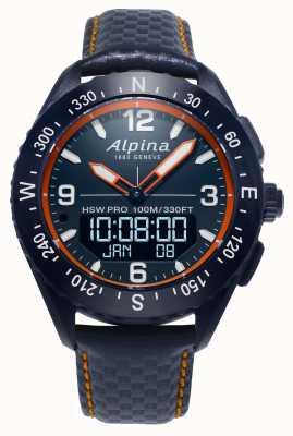Alpina x smartwatch pulseira de couro azul marinho AL-283LNO5NAQ6L