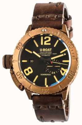 U-Boat Bracelete de couro marrom automática Sommerso 46 bronze 8486