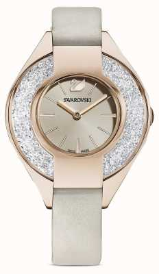Swarovski Desportivo cristalino | pulseira de couro cinza | mostrador de champanhe 5547976
