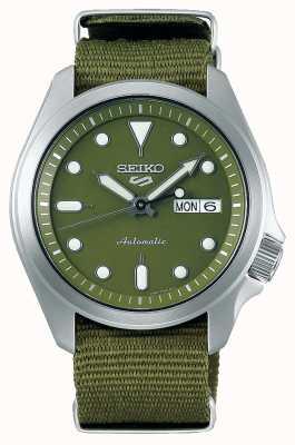 Seiko 5 esportes masculinos com mostrador verde pulseira de náilon verde SRPE65K1