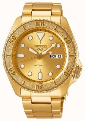 Seiko 5 pulseira masculina desportiva em ouro com mostrador dourado SRPE74K1