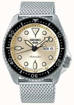 Seiko Automático | mens | esportes | pulseira de malha | creme SRPE75K1