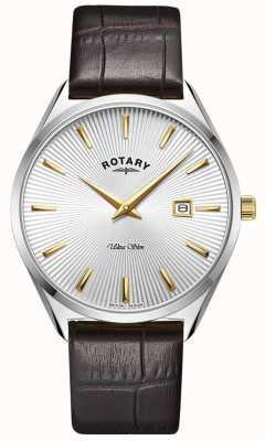 Rotary Ultra slim masculino | pulseira de couro marrom escuro | mostrador prateado GS08010/02