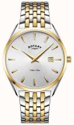 Rotary Ultra slim masculino | pulseira de aço bicolor | mostrador prateado GB08011/02