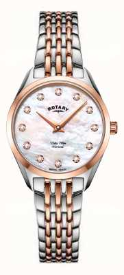 Rotary Relógio ultrafino feminino de dois tons com pulseira de madrepérola LB08012/41/D