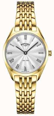 Rotary Ultra slim feminino   relógio de aço banhado a ouro   mostrador prateado LB08013/01