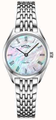 Rotary Relógio ultrafino com pulseira de prata para senhora LB08010/41
