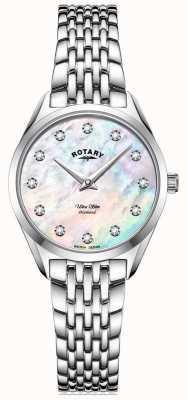 Rotary Ultra slim feminino   pulseira de aço inoxidável   diamante madrepérola mostrador LB08010/07/D