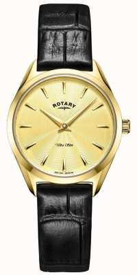 Rotary Relógio ultrafino feminino em couro dourado LS08013/03