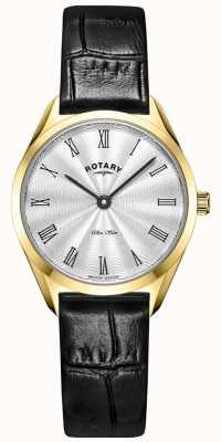 Rotary Relógio ultrafino feminino em couro dourado LS08013/01