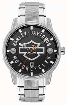 Harley Davidson Homens para ele!   pulseira de aço inoxidável   mostrador preto 76B182