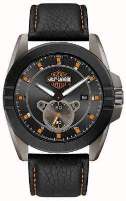 Harley Davidson Homens para ele! | pulseira de couro preta | mostrador cinza 78B182