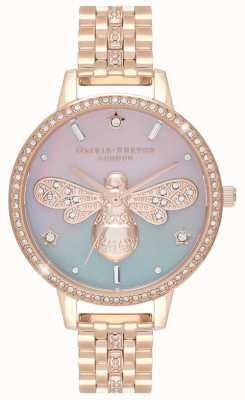 Olivia Burton Abelha brilho feminino | pulseira de aço ouro rosa | conjunto de cristal OB16GB04