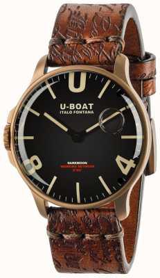U-Boat Darkmoon 44mm ip bronze preto | pulseira de couro 8467-BRONZE