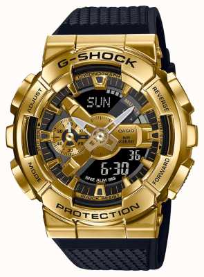 Casio G-shock | pulseira de resina texturizada | caixa metálica de ouro | GM-110G-1A9ER
