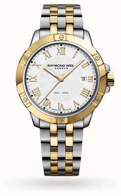 Raymond Weil Tango masculino | 41mm | pulseira de aço bicolor | mostrador branco 8160-STP-00308
