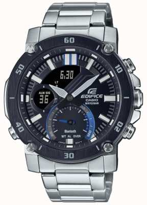 Casio Edifice   pulseira de aço inoxidável   mostrador preto / azul   ECB-20DB-1AEF