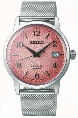 Seiko Presage de edição limitada   pulseira em malha de aço   mostrador rosa SRPE47J1