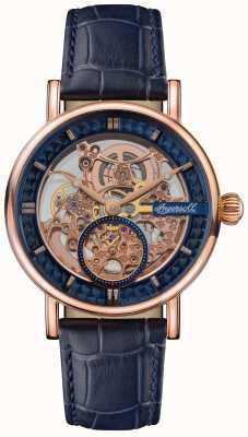 Ingersoll O arauto com mostrador esqueletizado e pulseira de couro azul I00407