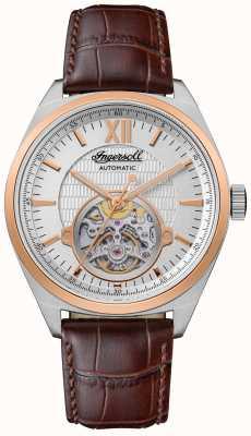 Ingersoll A pulseira de couro marrom automática Shelby com mostrador prateado I10901