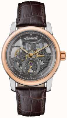 Ingersoll A pulseira de couro marrom com mostrador esqueletizado cinza automático baldwin I11001