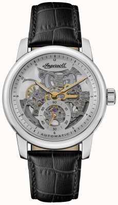 Ingersoll A pulseira de couro preta baldwin com mostrador esqueletizado prateado automático I11002