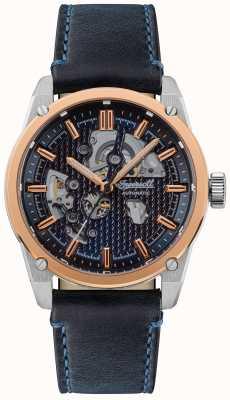 Ingersoll A pulseira de couro azul com mostrador automático carroll azul esqueleto I11602