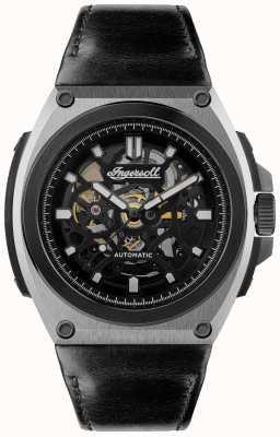 Ingersoll O movimento automático esqueleto com mostrador preto pulseira de couro I11702