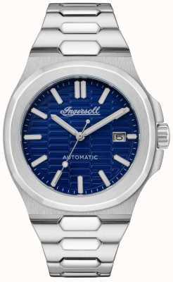 Ingersoll A pulseira de aço inoxidável com mostrador catalina favo de mel texturizado azul I11801