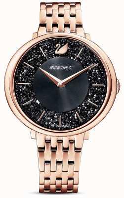 Swarovski | chique cristalino | pulseira pvd em ouro rosa | mostrador preto glitter | 5544587