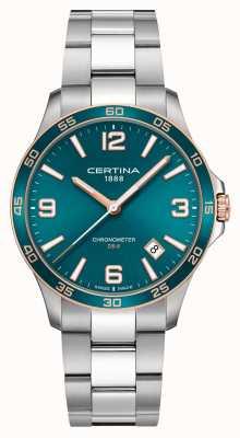 Certina Ds-8   pulseira de aço inoxidável   mostrador verde   quartzo C0338512109700
