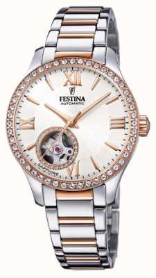 Festina Mulher automática | pulseira de aço inoxidável bicolor | mostrador prateado F20487/1