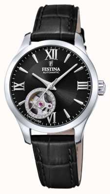 Festina Mulher automática   pulseira de couro preta   mostrador preto F20490/3