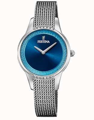 Festina Cerâmica feminina   pulseira de aço / cerâmica bicolor   mostrador azul F20494/2