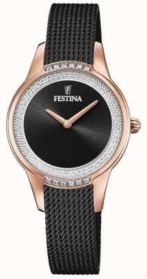 Festina Pulseira feminina em malha de aço preta   mostrador de cristal preto F20496/2