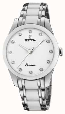 Festina Cerâmica feminina   pulseira de aço / cerâmica bicolor   mostrador branco F20499/1