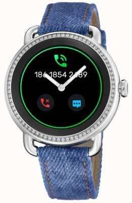 Festina Smartime   pulseira de brim azul   tela colorida   pulseira de couro branco adicional F50000/1