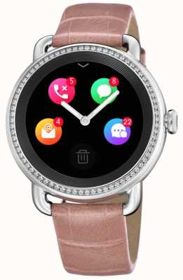 Festina Smartime   pulseira de couro rosa   tela colorida   alça adicional com estampa de cobra F50000/2