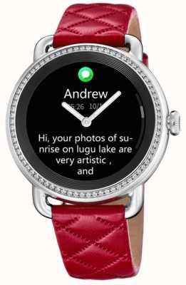 Festina Smartime   pulseira de couro vermelha   tela colorida   pulseira de couro preta adicional F50000/3