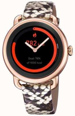 Festina Smartime   pulseira de couro estampada para senhora   caixa em ouro rosa   pulseira rosa adicional F50001/2