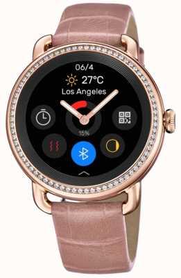 Festina Smartime   pulseira de couro rosa feminina   tela colorida   conjunto de cristal F50002/2