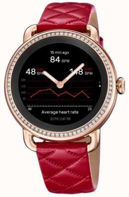 Festina Smartime   pulseira de couro vermelho feminino   conjunto de cristal   tela colorida   F50002/3